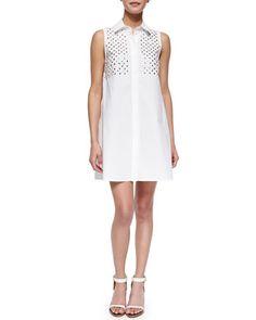 Studded-Yoke Button-Front Shirtdress, Optic White by McQ Alexander McQueen at Bergdorf Goodman.