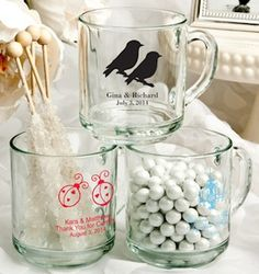 Personalized Glass Wedding Favor Mugs (50 Designs) (FashionCraft 3425S) | Buy at Wedding Favors Unlimited (http://www.weddingfavorsunlimited.com/personalized_10_oz_glass_mug_50_designs.html).