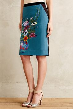 Emerald Garden Pencil Skirt #anthropologie