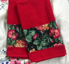 VIP CRANSTON Roses Roses   Custom Decorated Red Hand by Sew1Pretty, $17.00
