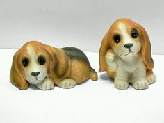 Homco Set Of 2 Vintage Ceramic Basset Hound Puppy Dog Figurines Figures 4in