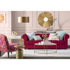 Get inspired by Glam Living Room Design photo by Room Ideas. Wayfair lets you find the designer products in the photo and get ideas from thousands of other Glam Living Room Design photos. Red Couch Living Room, Red Living Room Decor, Glam Living Room, Living Room Color Schemes, Living Room Designs, Red Sofa Decor, Sofa Design, Interior Design, Room Colors