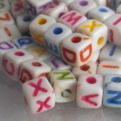 Darice 104 pc Alphabet 5mm Alpha square cube Beads letters words names craft art #Darice #Square  #BigBoyTumbleweed