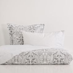 Silver Print Satin Bed Linen