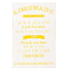Cuadro de pino blanco con impresión 40x60 cm RECETTE LIMONADE