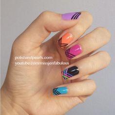 Neon and Black Nail Art - DivineCaroline.com