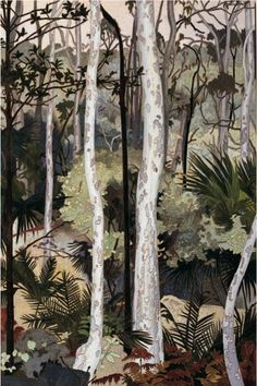 Spotted Gums, woodblock print by Cressida Campbell Australian Painting, Australian Artists, Abstract Landscape, Landscape Paintings, Landscapes, National Art School, Paintings I Love, Tree Paintings, Wood Engraving