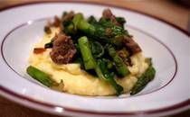 Chedder Polenta with Swiss Chard, Asparagus and Sausage   Made it tonight (though with pepperjack).. Delish!