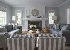Master suite--I'm sure ours will be smaller but love the grey, love the casual feel of the plump sofas, striping in chairs, white walls, would want a bit more window covering and TV over fireplace but love the feel