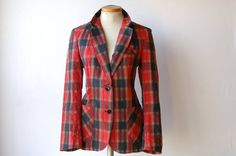 70s Red Plaid Blazer l Cotton Blend l For Women by RedLetterStyle, $36.00