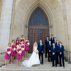 fuschia navy wedding - Google Search