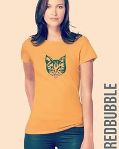 'Green Mollycat ' T-Shirt by Alan Hogan Cool Cats, Chiffon Tops, Classic T Shirts, Kitty, Stamp, Gift Ideas, Couture, Hoodies, Yellow