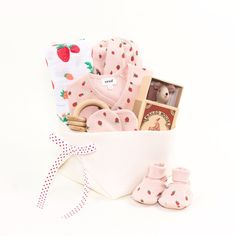 Personalised baby gifts that are unique beautiful all of our luxury baby gift basket featuring oeuf nyc strawberries for ever bonjour baby baskets negle Gallery