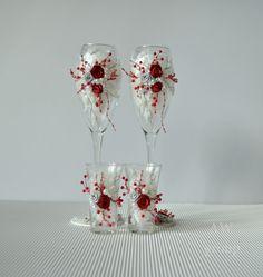 Wedding Flutes Toasting Set Glasses Wedding Ceremony Flutes & Shorts Glasses Bridal Flutes Gifts For The Couple Silver and Burgundy Set of 4 by ArtWeddingGroup on Etsy