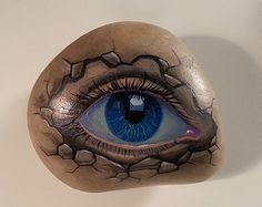 Ever Watching Eye! Hand painted marble stone. --------------------------------------------------------------------------- Fits in the palm of your