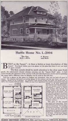 Plan L-2004 - 1918 Harris Bros. Co. - Classic American Foursquare Style Home