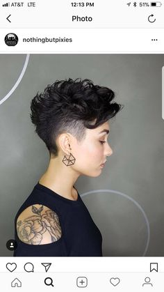 Tapered Pixie with Long Bangs - Pixie Haircuts With Bangs – 50 Terrific Tapers - The Trending Hairstyle Haircut For Thick Hair, Short Curly Hair, Pixie Haircut, Curly Hair Styles, Curly Pixie, Short Hair Styles Shaved, Funky Short Hair, Short Curls, Haircut Short