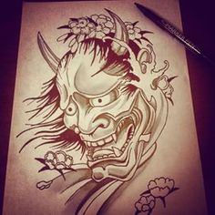 hannya mask drawing - Buscar con Google                                                                                                                                                                                 More