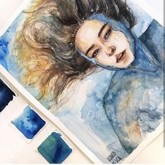 Watercolor painting by Humid Peach. Humid Peach is the name of the artist whose … - ART Watercolor Painting Watercolor Illustration, Watercolor Paintings, Watercolour, Art Paintings, Arte Sketchbook, Ap Art, Watercolor Portraits, Art Drawings Sketches, Portrait Art
