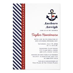 Red Navy Blue Nautical Bridal Shower Invitations