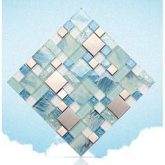 Blue Mosaic Glass Tile Backsplash | Blue glass mosaic sheets stainless steel backsplash crackle crystal ...