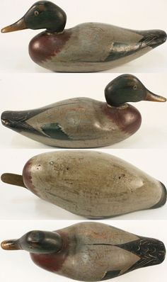 Mallard Drake made by Jasper N. Dodge, Detroit, MI, 1880's, HOLLOW wood, structurally excellent, glass eyes, original paint with very minor wear, carved bill with nostrils & mandibles, Big Wide Hollow Body, this decoy was probably a prototype hand made by Dodge before he started his factory.