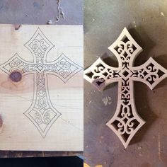 Wouldn't this be gorgeous in Diamonds???  This is a Wood cross the pinner made on scroll saw...