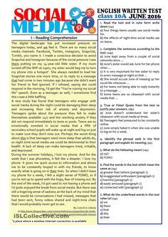 SOCIAL MEDIA - grade test worksheet - Free ESL printable worksheets made by teachers Essay Writing Skills, English Writing Skills, English Reading, English Lessons, English Words, Reading Skills, Teaching Reading, Persuasive Writing, Reading Comprehension Worksheets