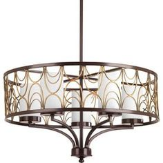 Shop Progress Lighting Cirrine 24-in 5-Light Antique Bronze Etched Glass Shaded Chandelier at Lowes.com