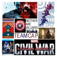 """TEAM CAP"" by fairylights12341 ❤ liked on Polyvore featuring art, contestentry, CaptainAmericaCivilWar and neitherarevillians"