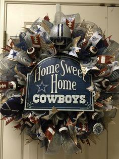 Dallas Cowboy deco mesh wreath by Twentycoats Wreath Creations (2015)