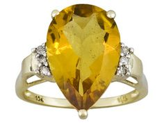 4.00ct Pear Shape Brazilian Citrine With Diamond Accent 10k Yellow Gold Ring