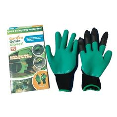 1 Pair Boxed Garden Gloves with 4 ABS Plastic Claws for Garden Genie Gloves Digging Planting Household Dig Mittens Drop Shipping #gardengloves