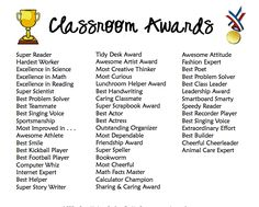 Classroom awards for even the most challenging students!