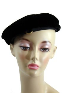 a433f2e9c9e3 VINTAGE BERET FRENCH STYLE HAT Black Velvet GOLD Ring 60s Feather Hat,  Pillbox Hat,