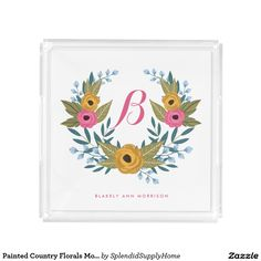 Painted Country Florals Monogrammed Tray