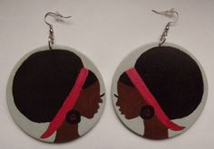 I want >>Handpainted Afro Hair Lady Wooden Glitter by TheQueensGems on Etsy, $18.50