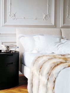 White bedding and plush fur. That is one yummy cushy bed for reading and. Home Bedroom, Bedroom Decor, Bedroom Ideas, Bedroom Designs, Winter Bedroom, Bedroom Table, Bedroom Storage, Dream Bedroom, White Bedding