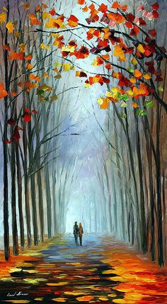 Leonid Afremov Autumn Fog print for sale. Shop for Leonid Afremov Autumn Fog painting and frame at discount price, ships in 24 hours. Autumn Painting, Oil Painting On Canvas, Canvas Art, Knife Painting, Painting Art, Forest Painting, Canvas Ideas, Painting Portraits, Modern Oil Painting