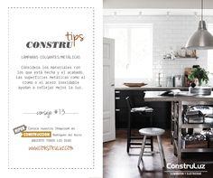 LÁMPARAS COLGANTES/METÁLICAS #ContruluzTips consejo #13.  Consejos para elegir tu #LámparaColgante  Considera los materiales con los que está hecha y el acabado, para la cocina te recomendamos de #Metal.  www.construluz.com - info@construluz.com.ar  #luces, #deco & #showroom