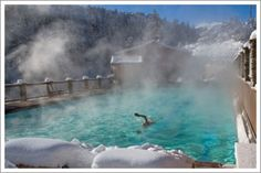 Mount Princeton Hot Springs, one of upper pools, nestled in the mountains, you can even splash in the river!