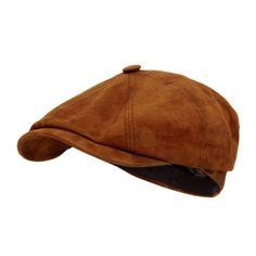 Stetson Hats Stetson Hatteras Goat Suede Brown Newsboy Cap