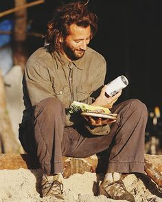 """3.15 """"Left Behind"""" – Publicity still. Mmmmm! DHARMA beer! I'll always remember Sawyer's initial assessment: """"It's flat and it stinks."""""""