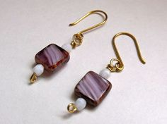 Striped Eggplant Square Glass  Bead Earrings in Red by SandiJagt, $16.00