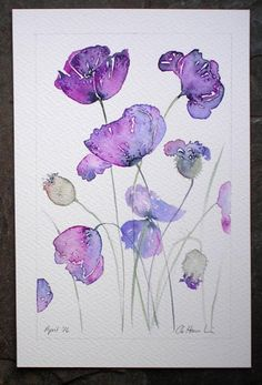 Watercolour painting PURPLE POPPIES original art by artist Amanda Hawkins 14 x 22 cm, unframed, unmounted. Floral art, botanical painting Watercolour painting PURPLE POPPIES original art by artist Watercolor Cards, Watercolour Painting, Watercolor Flowers, Watercolours, Watercolour Drawings, Purple Painting, Watercolour Illustration, Watercolor Ideas, Illustration Sketches