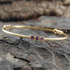 Gold And Amethyst Cellular Bangle