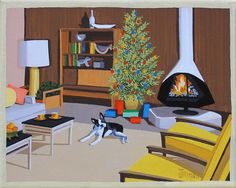CHRISTMAS IN THE DEN  Boston Terrier lounging by the Christmas tree. Mid Century modern living.  This is a limited edition (200 prints) print by Linda Tillman. It is a print of an original gouache painting. Prints are all printed on archival matte paper. They are printed with a Canon iX6500 printer. It has a border. The edges of the composition fade softly into white as they do on the original painting. The print will fit a standard pre-cut matte for easy framing.  The size is 8 x 10 inches…