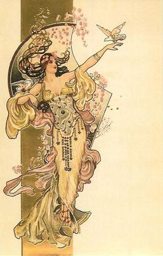 A modern postcard reproducing a c.1900 postcard in the Art Nouveau style, showing a woman in a flowing dress and hair holding two doves. The artist is unknown. The rectangular band and highlights are printed in gold ink.
