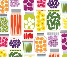 I want to make a ton of kitchen tea towels out of this one!! - pickled peppers and sprouts by katerhees on Spoonflower