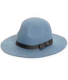 Effortlessly finish off any look with some classy style with this wide brim hat made with a blue wool construction and finished with a contrast grey webbed band around the crown.